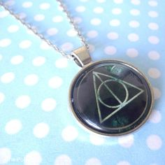 Deathly Hallows Symbol Round Cabochon Necklace Pendant HP Harry Potter #Handmade