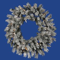 Vickerman 30in. Flocked White on Green 140 Tips Wreath 50 Clear Dura-Lit Lights