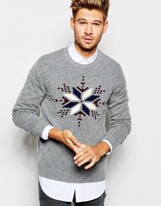 ASOS Lambswool Rich Christmas Jumper with Snowflakes