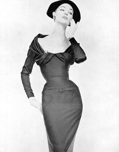 Nina Ricci 1955.  Wow, looks like even back then the ladies were very thin and had tiny waist!