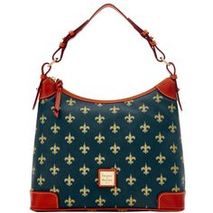 Like denim and t-shirts, or cashmere and pearls, Dooney & Bourke and the NFL are a classic fashion combination. Made of coated canvas and trimmed with bridle leather, these bags are lightweight, durable and easy to care for. Featuring a relaxed, slouchy crescent-shaped construction, this shoulder bag is the epitome of casual, fashionable style.