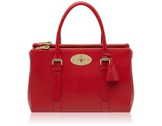 Mulberry - Bayswater Double Zip Tote in Bright Red Shiny Goat