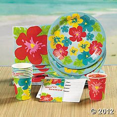 "Bright Hibiscus. Includes 8 invitations, eight 9"" plates, eight 3 1/2"" 9-oz. cups and 16 luncheon napkins. $9.50"