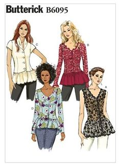 Butterick 6095 Women's and Misses Sewing Pattern for Tops with front-button closures, sleeve variations, and peplum. This Uncut Pattern has a d Butterick Sewing Patterns, Sewing Patterns Free, Vintage Patterns, Clothing Patterns, Vintage Sewing, Jacket Pattern, Top Pattern, My Size Barbie, Flattering Outfits