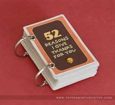 52 reasons I give thanks for you - mini album from a deck of cards
