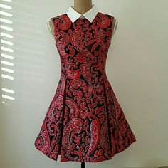 """VALENTINES DAY! Black & Red Peter Pan Collar Dres Glamorous with a vintage flair! Beautiful dress with great fabric and pattern.   Nicely made.  Fit and flare dress!  Mini length. Good for a petite gal.  Measurements to follow. Size  small.  Collar has some dot markings and a pin hole,  hard to notice. Measurements : 31.5"""" length. Waist laid flat: 14"""".  Pit to pit: 16"""" Dresses Mini"""