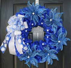 christmas wreath using royal blue and silver | Blue and Silver Poinsettia Mesh Christmas Wreath