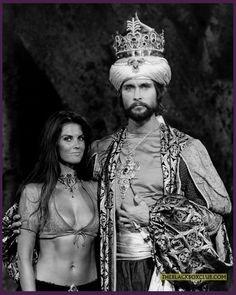 "A publicity still of Caroline Munro & John Philip Law in ""The Golden Voyage of Sinbad"""