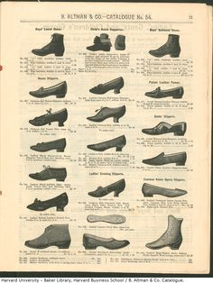 This chart represent the different shoe styles that would have been found throughout the bustle period. Altman & Co. Victorian Shoes, Victorian Costume, Victorian Era, 1880s Fashion, Edwardian Fashion, Vintage Fashion, Vintage Shoes, Vintage Ads, Vintage Outfits