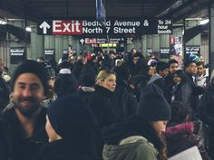 Crowded Subway Stop, Brooklyn, Bedford Avenue