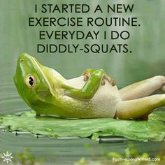 I started a new exercise routine. Everyday I do diddly-squats.