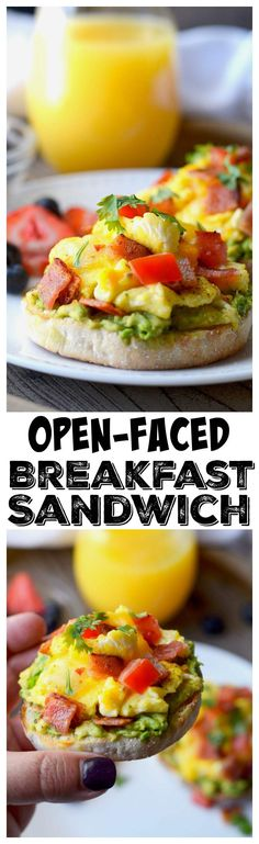 This Open-Faced Breakfast Sandwich recipe is a fantastic combination of bacon, avocado, egg and cheese is just delicious! The perfect way to kick start the day! #breakfast #breakfastsandwich #openfacedsandwich
