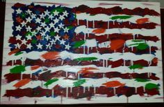 Abstract American flag acrylic painting.  5/17/2014 American Flag, Bee, Abstract, Gallery, Artwork, Painting, Etsy, Summary, Work Of Art