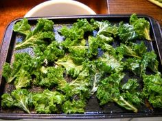 Kale Chips.  I don't know how folks say that these taste like potato chips, because they don't.  At all.  They're ok.  Next time, I may sprinkle with the Parmesan cheese to give it more flavor.