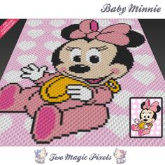 Baby Minnie is a graph pattern that can be used to crochet a children blanket using C2C (Corner to Corner), TSS (Tunisian Simple Stitch) and other techniques. Alternatively, you can use this graph for knitting, cross stitching and other crafts. This graph design is 80 squares wide by 100 squares high. It requires 6 colors for the character and one background color. Pattern PDF includes: - color illustration for reference - color squares pattern Images only. There are NO written counts or...
