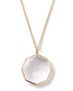 """18K Rock Candy Large Octagon Necklace in Clear Quartz, 18-20"""""""