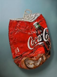 Realistic painting, Tjalf Sparnaay Gallery, Coca Cola can rusted & smashed Hyperrealism Paintings, Photorealism, Oil Paintings, Food Painting, Painting & Drawing, Food Drawing, Tjalf Sparnaay, Growth And Decay, Hyper Realistic Paintings