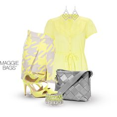 """""""Grey and Yellow - Chevron"""" by maggiebags on Polyvore"""