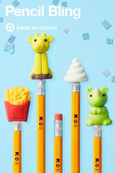 Back to school pencils deserve a little personality, and that's exactly what these adorable pencil toppers provide. Choose from pint-sized snacks like miniature french fries or a cool twist ice cream cone, or quirky animal characters like cows and lions and tons more. For these cute school supply accessories, the pencil case is the place to be.