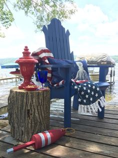 "Summer Home Tour: It's a Shore Thing. Nothing quite says ""Summer"" like red, white and blue.  Deck out your outdoor spaces with an American flag blanket and other nautical accessories at HomeGoods this Summer! Sponsored Post"