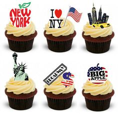 30 Stand Up New York City Edible Wafer Paper Cake Cupcake Toppers Edible Cake Toppers, Birthday Cake Toppers, Cupcake Toppers, Wafer Paper Cake, Paper Cupcake, Themed Wedding Cakes, Themed Cupcakes, New York Theme Party, Nyc Cake