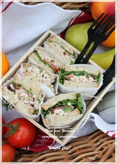 Tuna & Walnut Sandwich: 1 can Tuna, 20gm Mayo, 2tbsp yogurt, 1stalk celery, 1/4 cup raisins, 1/2 cup walnuts, half onion sal and pepper to taste.
