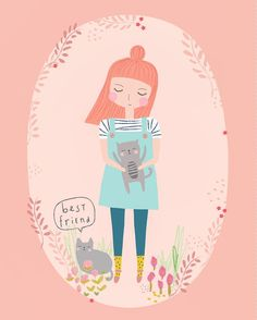 Cat Lady with the coolest socks!  Aless Baylis for Petite Louise.   #illustration #girl #cat