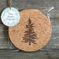 Pine Tree Drink Coasters - Hand Stamped & Made From Natural Cork - Set Of 4 by Kara Sharee's Collection on Gourmly