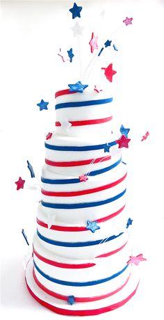Fourth of July Cake Fourth Of July Cakes, 4th Of July Desserts, Happy Fourth Of July, July 4th, Holiday Snacks, Holiday Cakes, Gorgeous Cakes, Amazing Cakes, Unique Birthday Cakes