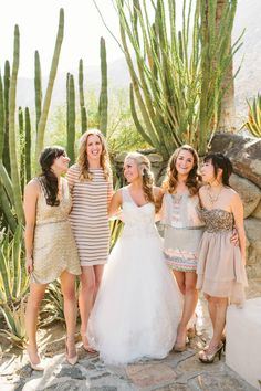 Unique Mix & Match #Bridesmaid Dresses! - Spring Wedding at the O'Donnel House in Palm Springs - Bummed Bride  Photographer: Laura Goldenberger
