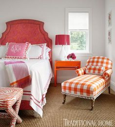 Wonderful orange gingham chaise! Elizabeth Schmidt Interior Design