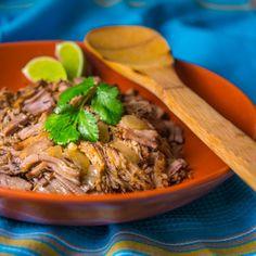 Slow Cooker Carnitas... lean pork tenderloin braised in a spicy, citrus stock