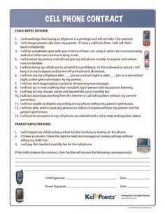 School counseling - Cell phone contract kids