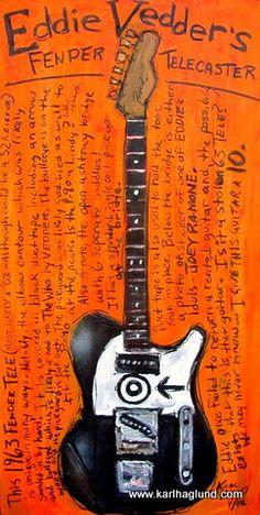 Eddie Vedder Fender Telecaster electric guitar art print