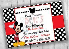 Mickey Mouse Birthday Invitation Mickey by PartyPrintableInvite Mickey Mouse Birthday Invitations, Disney Invitations, 3rd Birthday, Birthday Parties, Bithday Cake, Fun, 3 Year Olds, Anniversary Parties, Birthday Celebrations