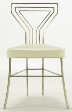 Six Geometric Back Dining Chairs In Polished Steel image 8
