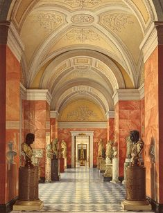 Interiors of the New Hermitage. The Room of Sculpture by Konstantin Andreyevich Ukhtomsky - Architecture, Interiors Drawings from Hermitage Museum Imperial Palace, Imperial Russia, Coral Castle, Palace Interior, Winter Palace, Hermitage Museum, Interior Rendering, Kirchen, Historic Homes