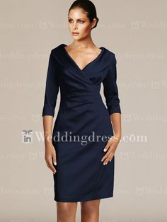 Short V-Neck Groom Mother Dresses with Sleeves MO192