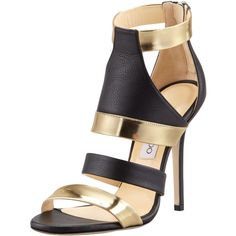 Jimmy Choo Besso Mixed-Leather Sandal (1.280 BRL) ❤ liked on Polyvore featuring shoes, sandals, heels, sapatos, ankle strap shoes, ankle strap high heel sandals, strappy high heel sandals, leather sandals and leather strap sandals
