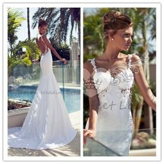 Vestido casamento 2015 Mermaid wedding dresses Sexy sweetheart spaghetti strap floor length Appliques backless bridal gown
