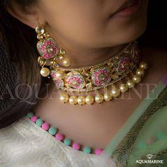 No photo description available. Indian Wedding Jewelry, Indian Jewelry, Bridal Jewelry, Indian Jewellery Design, Jewelry Design, Aquamarine Jewelry, Jewelry Collection, Fashion Weeks, Sunita Shekhawat
