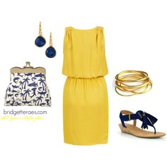 Yellow and Navy, created by bridgetteraes on Polyvore featuirng the Stella & Dot - Serenity Small Stone Drops in Lapis