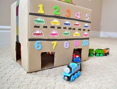 Fun #numbers counting train and car tunnel from a cardboard box. #kids #toddlers