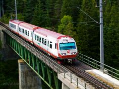 The öBB 6090 is seen between Erlaufklause and Mitterbach stations on the Kuhgrabenviadukt Bonde, Commercial Vehicle, Train Travel, Locomotive, Taiwan, Airplane, Europe, Logos, Railings