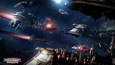 Battlefleet Gothic: Armada is the RTS videogame adaptation of Games Workshop's classic tabletop game, pitting the Chaos, Imperium, Eldar, and Orks against each other in visceral space-battles. Warhammer 40k Art, Warhammer Fantasy, Battlefleet Gothic Armada, Gothic Elements, Gothic Wallpaper, Space Battles, Sci Fi Models, Real Time Strategy, Gaming
