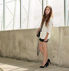 Leather Shorts & White Blazer
