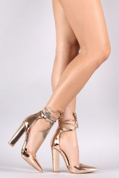 Shoe Republic LA Metallic Ankle-Tie Chunky Heeled Pump