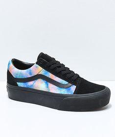 Vans Old Skool Tie Dye   Black Velvet Platform Skate Shoes af49a0aac17