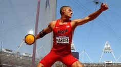 Trey Hardee of the United States competes during the men's Decathlon Discus Throw on Day 13 of the London 2012 Olympic Games at Olympic Stadium.