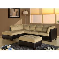 @Overstock.com - Abbyson Living Charlotte Beige Sectional Sofa and Ottoman - This attractive sectional sofa and ottoman will provide a great place for your family to gather together. The beige and brown colors will match most living room decor. The comfortable high-density foam cushions provide both softness and support.  http://www.overstock.com/Home-Garden/Abbyson-Living-Charlotte-Beige-Sectional-Sofa-and-Ottoman/4697404/product.html?CID=214117 $1,562.99